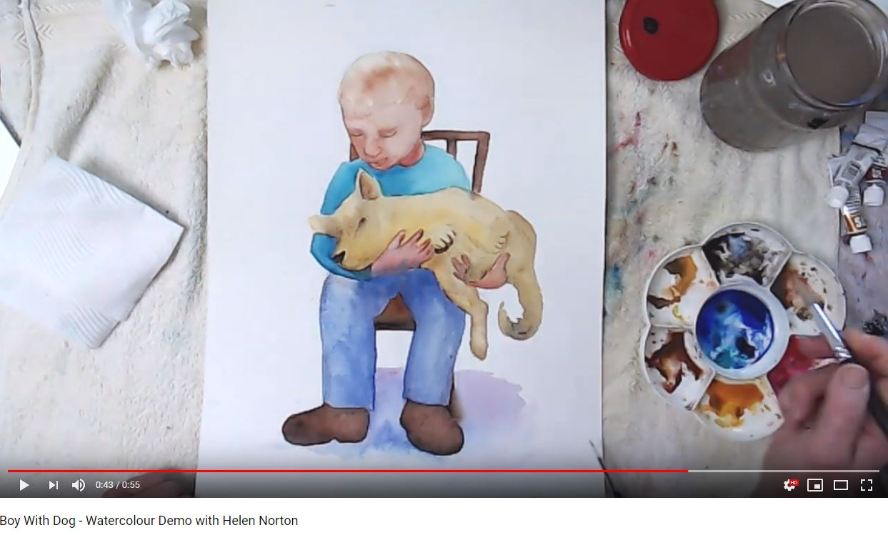 Watercolour Demo of Boy with Dog