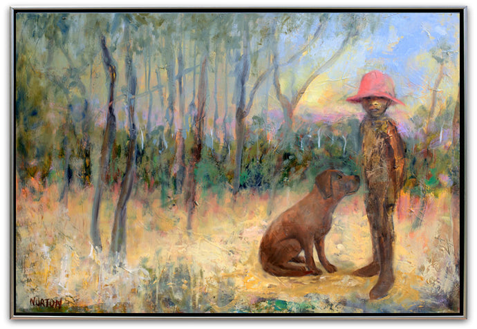 Boy with Pink Hat and Dog