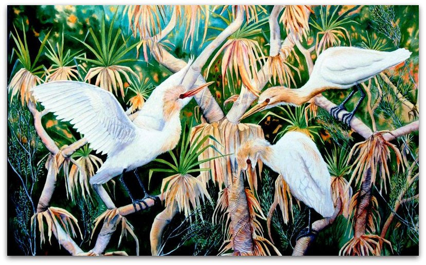 Cattle Egrets in Pandanas