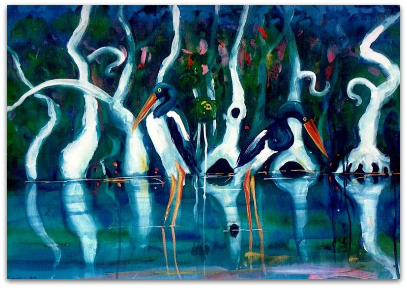 Jabiru's in Paperbark Swamp