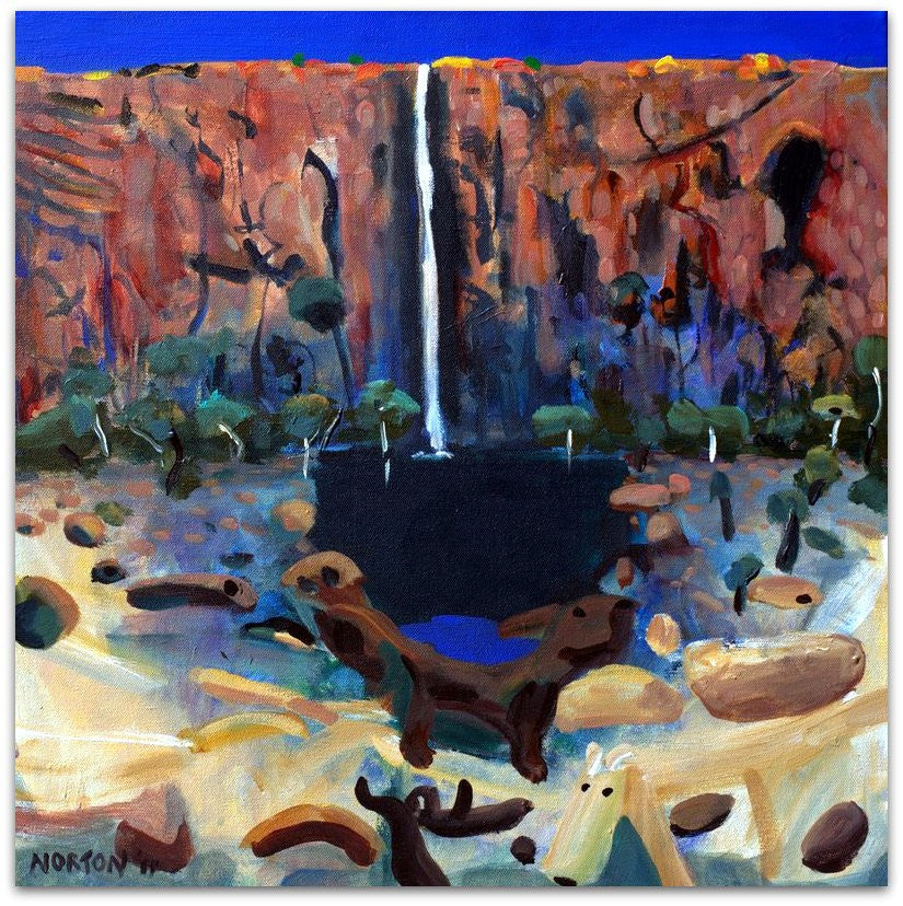 Waterfall with Natives