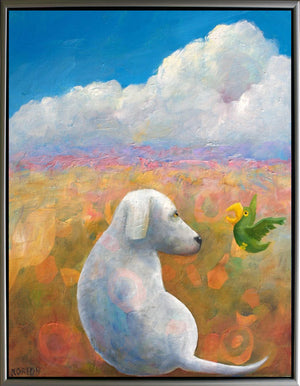 White Dog and Green Parrot