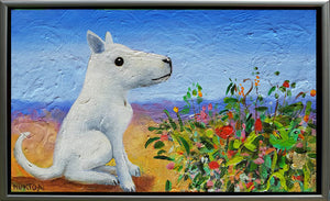 White Dog With Flowers