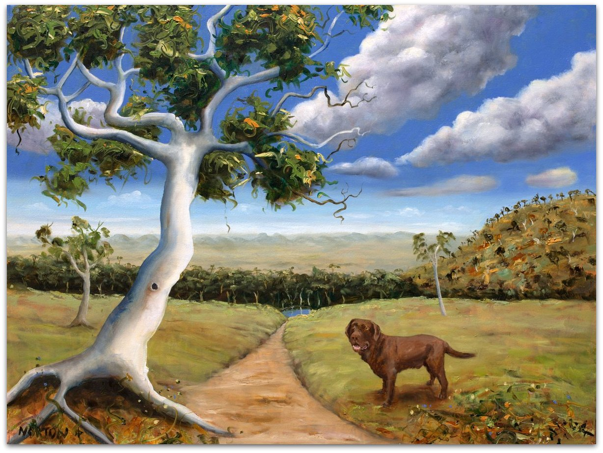 Landscape with Brown Dog
