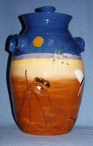 1993 Black Tracks Rescue Glazed Clay Urn
