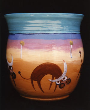 1993 Bucking Cows - Glazed Clay Vase