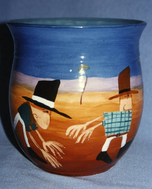 1993 Troubled Fellows - Glazed Clay Vase