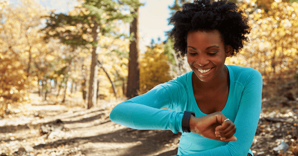 woman running with wearable