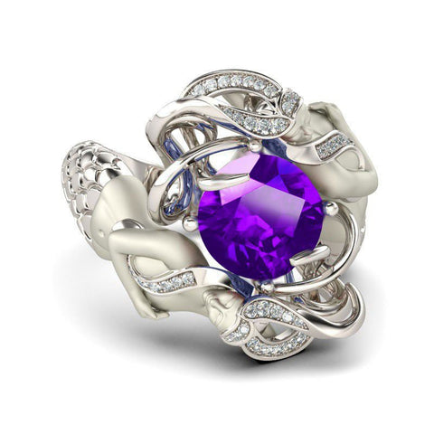 Amethyst Cubic Zirconia Silver Plated Mermaid Ring