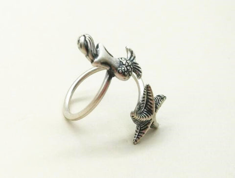 12 Pcs Adjustable Retro Fashion Mermaid Ring