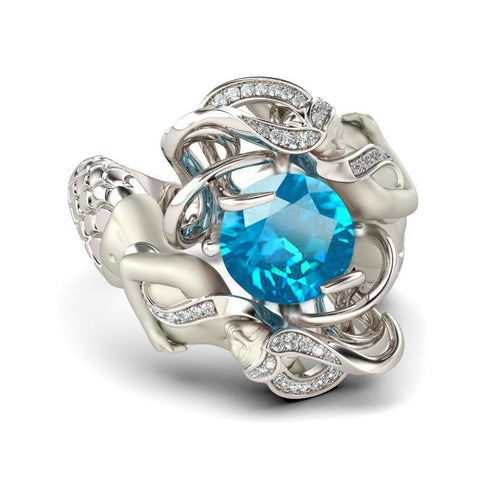 Turquoise Cubic Zirconia Silver Plated Mermaid Ring