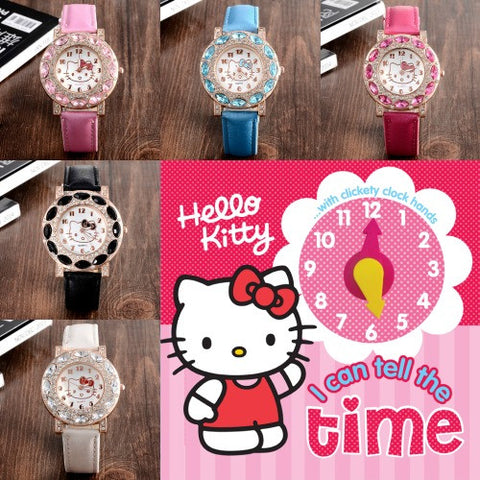 Hello Kitty Rhinestone Leather Watch