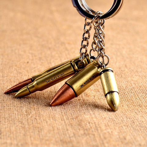 6cm Fashion Antique Bronze Plated Bullet Metal Key Chain