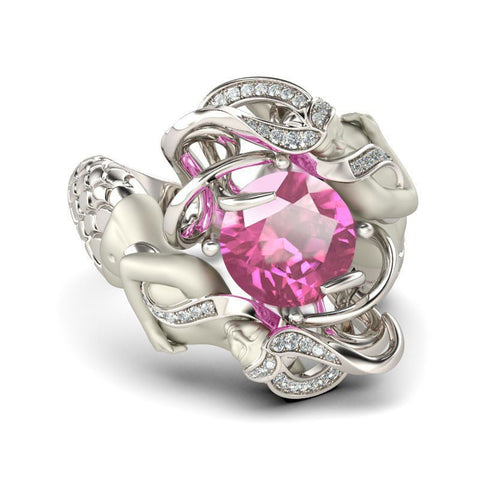 Pink Panther Cubic Zirconia Silver Plated Mermaid Ring