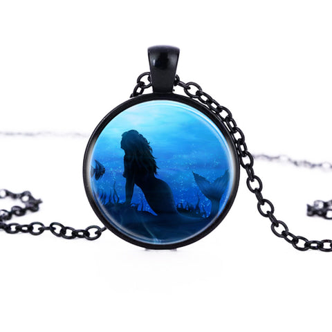 Art Mermaid Pendant Round Necklace