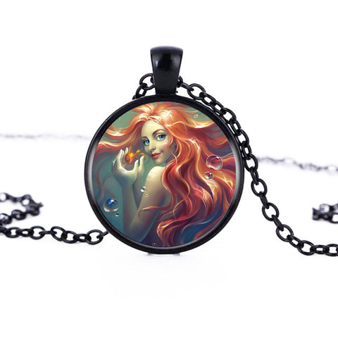 Brown Hair Mermaid Logo Pendant Necklace