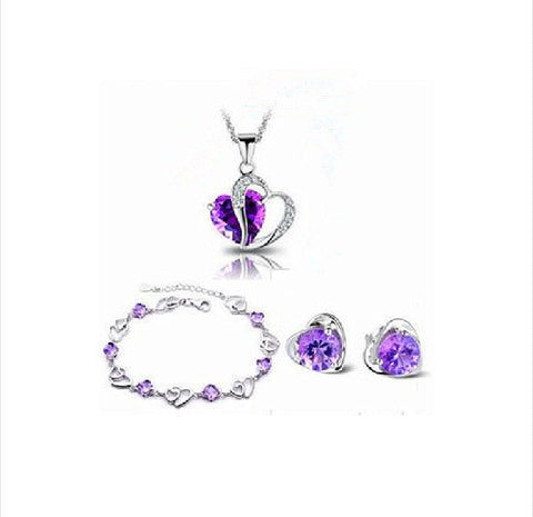 Cubic Purple Crystal Necklaces & Pendants Sterling Silver Jewelry Set