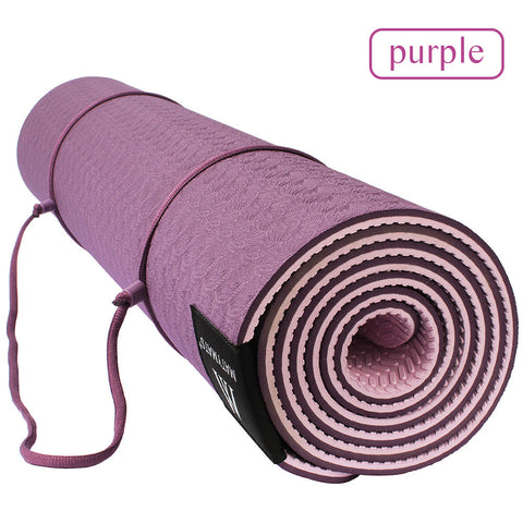 Non-slip Double Layers with Adjustable Strap Camping Yoga Mat
