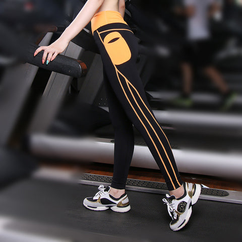 High Waist Elastic Push Up Spandex Yoga Pants With Side Pocket Patchwork
