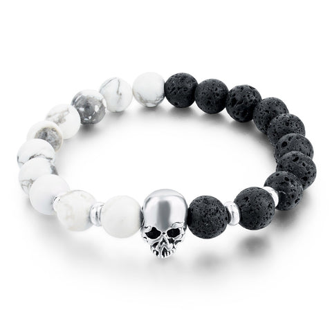 Lava Beads Elastic Bracelets Men