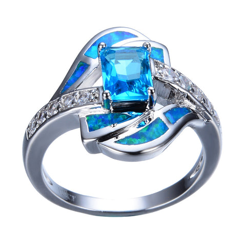 Blue Opal Ring 14K White Sterling Silver
