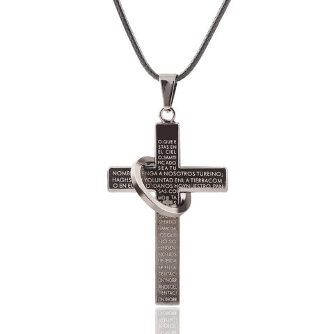 Cross Scripture Rope Necklace