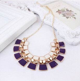 Chain Collar Long Plated Enamel Statement Bling Necklace