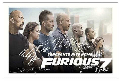 FAST AND FURIOUS 7 Cast Signed Autographed A4 Print Poster