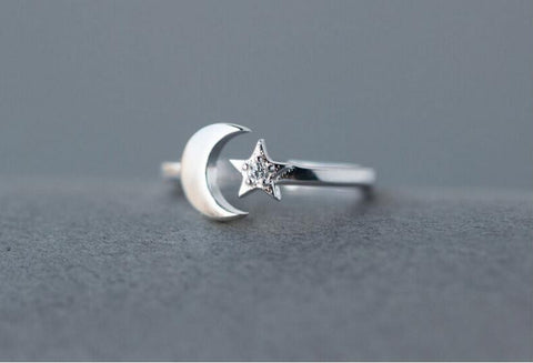 Fashion Moon Star CZ Diamond Adjustable Rings