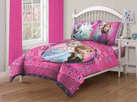 Disney Frozen Anna + Elsa Pink Bedding Comforter and Sheet Set Full Size