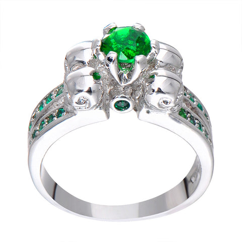 Gorgeous Green Skull Ring Vintage Wedding Rings