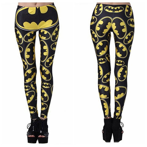 Printed Batman Pattern Slim Shape Casual Leggings