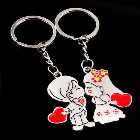Married Couple Holding Heart Key Chain