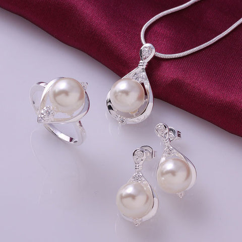 Crystal Simulated Pearls Ring Earrings Necklace Jewelry Sets