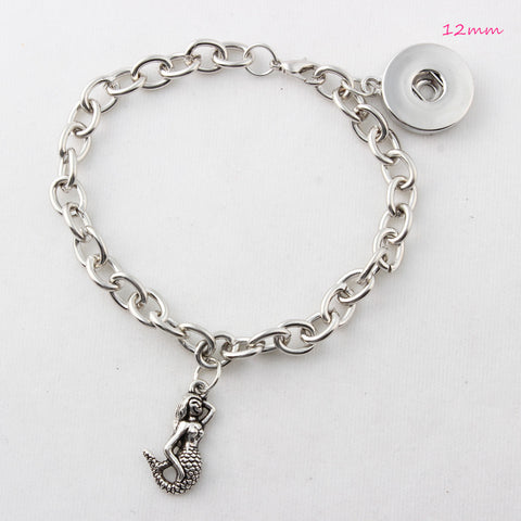 Silver Mermaid 18mm Button Snap Bracelet