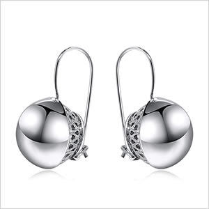 Double Round Ball Silver Earring
