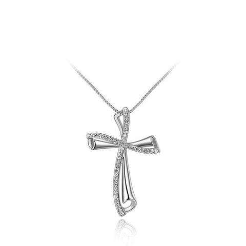 Gold Plated Fashion Insets Curved Cross Pendant Necklace