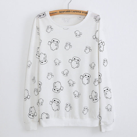 Big Hero 6 White Pattern Sweatshirt