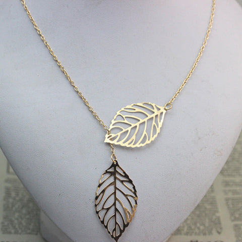 Double Leaf Necklace Fashion Leaf Pendant Necklaces
