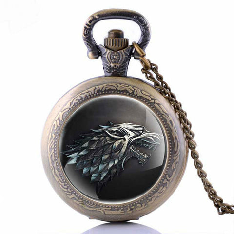 Game of Thrones House Stark of Winterfell Pocket Watch