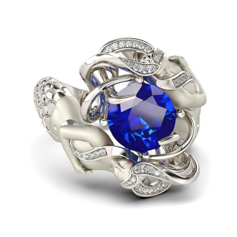 Blue Sapphire Cubic Zirconia Silver Plated Mermaid Ring