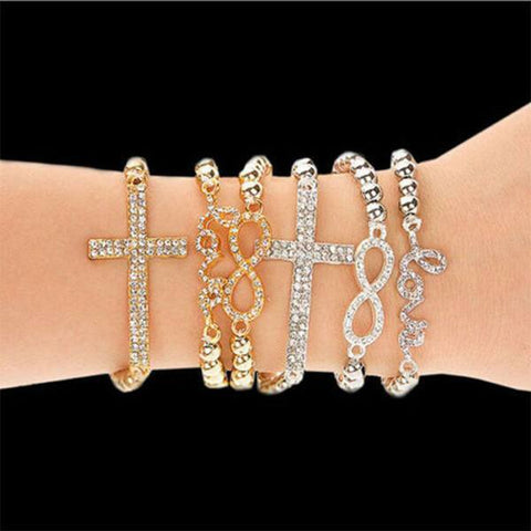 Bracelet - Gold & Silver Plated Cross Bracelets