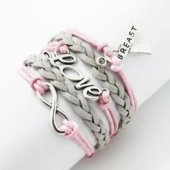 Bracelet - NEW Double Infinite Multilayer Fashion Leather Bracelet - Breast Cancer Awareness
