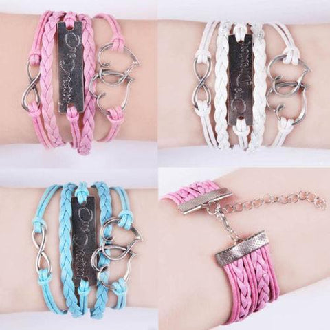 Bracelet - One Direction Infinity Heart Leather Charm Bracelet