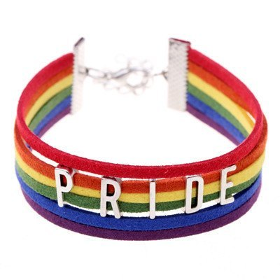 "Bracelet - Rainbow Gay Pride Charming Six Stripes Flag ""PRIDE"" Charm Bracelet"