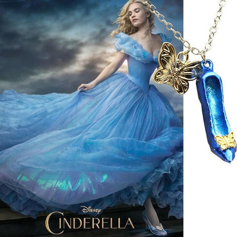 Cinderella Butterfly Glass Slipper Necklace