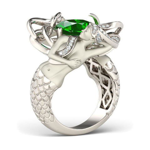 Emerald Zirconia Silver Plated Mermaid Ring