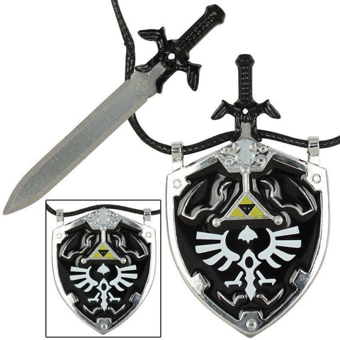 Dark Link Master Sword & Hylian Shield Legend Of ZELDA Necklace