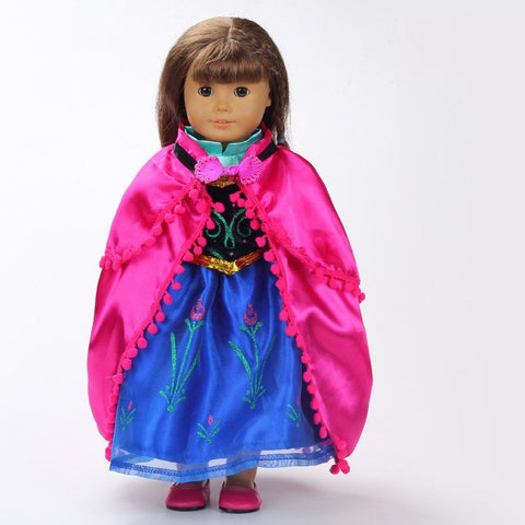 "Doll Accessories - Frozen's Princess Anna Dress Costume For 18"" Doll"