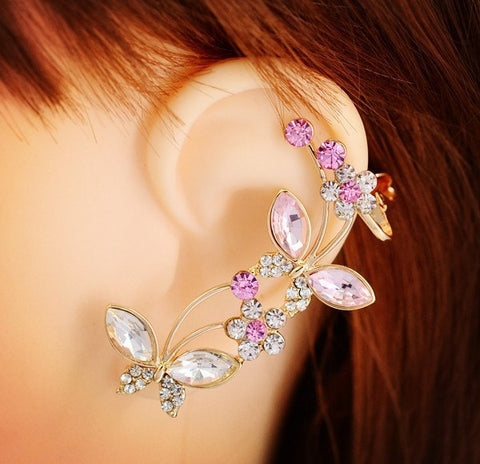 Earrings - Crystal Rhinestone Butterfly Rose Ear Cuff Clip Earring